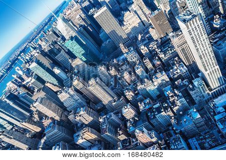 view over the skyscrapers of manhattan, new york