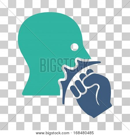 Face Violence Strike icon. Vector illustration style is flat iconic bicolor symbol, cobalt and cyan colors, transparent background. Designed for web and software interfaces.