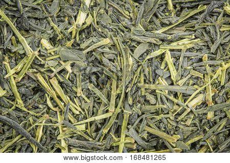 background texture of loose leaf Iccha Kariban green tea