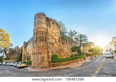 Preserved remains of Alcazaba fortress in Marbella Andalusia Spain