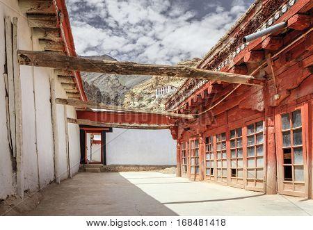 Monks quarters in Buddhist monastery in Ladakh, Kashmir, India