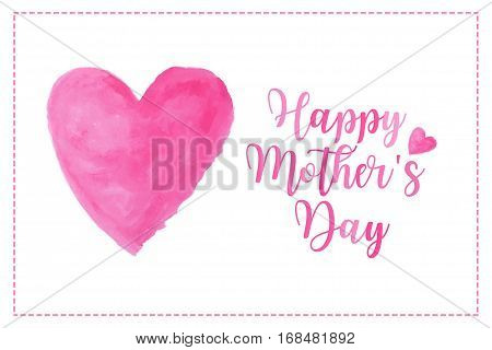 pink heart watercolor paint isolated on white background with words Happy Mother's day