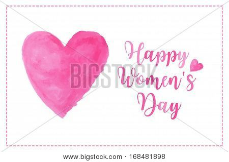 pink heart watercolor paint isolated on white background with words Happy Women's day