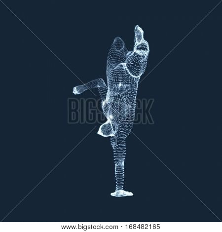 Gymnast. Man. 3D Human Body Model. Gymnastics Activities for Icon Health and Fitness Community. Vector Graphics Composed of Particles.