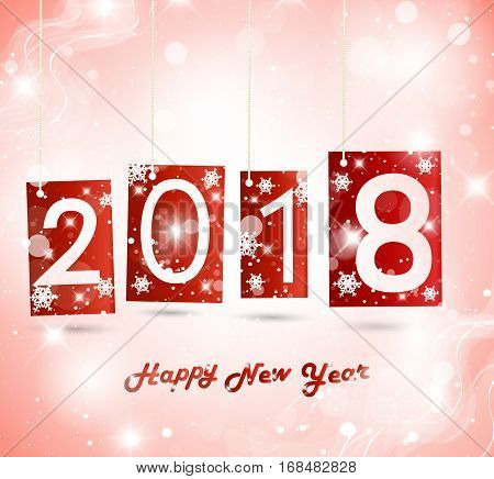 Happy New Year 2018 background. Colorful Greeting card. Vector illustration.