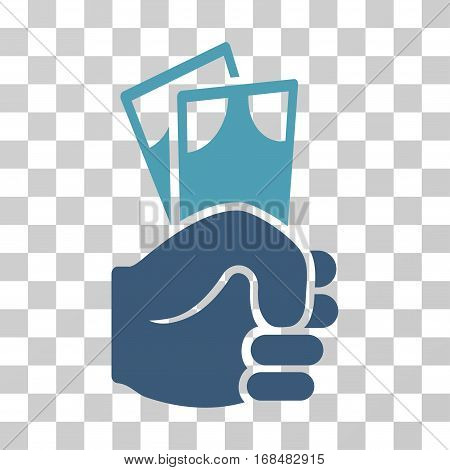 Banknotes Salary Hand icon. Vector illustration style is flat iconic bicolor symbol, cyan and blue colors, transparent background. Designed for web and software interfaces.