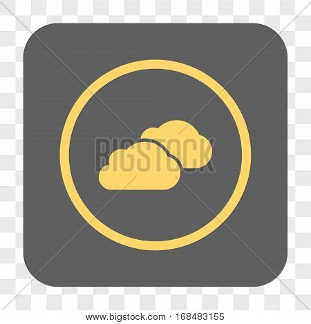 Clouds interface toolbar button. Vector icon style is a flat symbol inside a rounded square button yellow and gray colors chess transparent background.