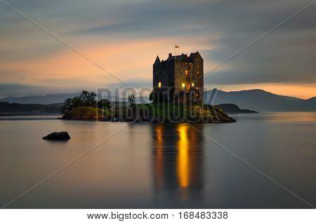 Stalker Castle in late evening Highlands Scotland