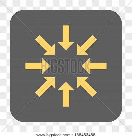Collapse Arrows interface toolbar button. Vector icon style is a flat symbol in a rounded square button yellow and gray colors chess transparent background.