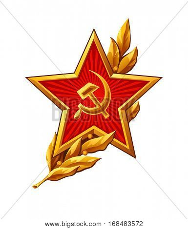 Soviet Red Army badge over peaceful olive branch