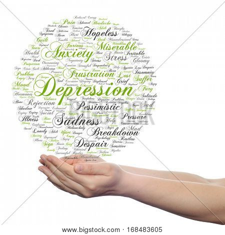 Concept conceptual depression mental emotional disorder abstract word cloud held in hands isolated on background for to anxiety, sadness, negative, sad, problem, despair, unhappy, frustration symptom
