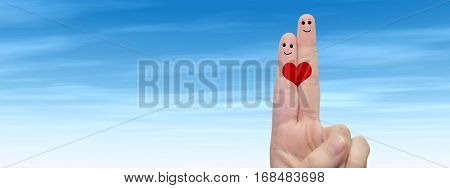 Concept conceptual human or female hands with two fingers painted with a red heart and smiley faces over cloud blue sky background banner for valentine, romantic, love, couple, young, family wedding