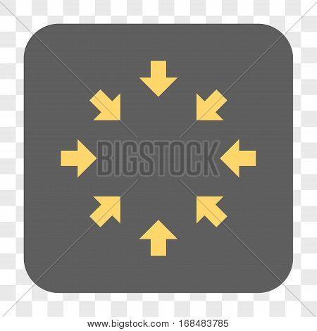 Compact Arrows interface toolbar button. Vector icon style is a flat symbol on a rounded square button yellow and gray colors chess transparent background.