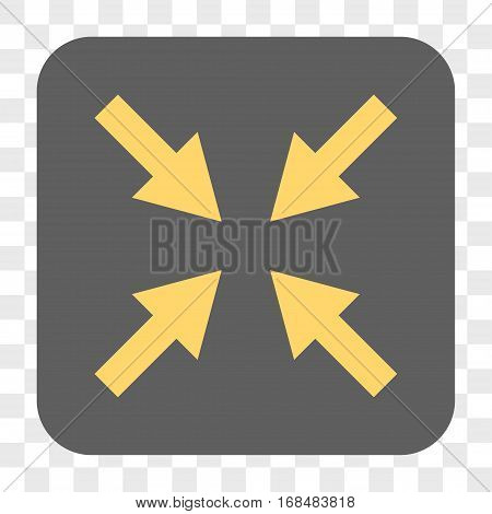 Compress Arrows interface toolbar button. Vector icon style is a flat symbol in a rounded square button yellow and gray colors chess transparent background.