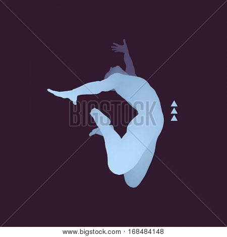 Business, Freedom or Happiness Concept. 3D Model of Man. Human Body Model. Vector Illustration.