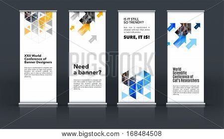 Mega set. Abstract business vector set of modern roll Up Banner stand design template with yellow rectangles, triangles for exhibition, fair, show, exposition, expo, presentation, events.