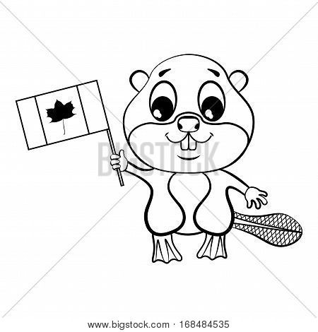 Beaver with canadian flag. Picture for coloring