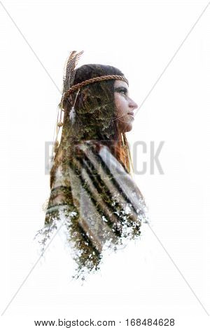 Double Exposure Of Native American Indian Woman And Green Trees In Woods, Free Spirit And Protection