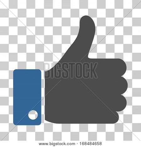 Thumb Up icon. Vector illustration style is flat iconic bicolor symbol, cobalt and gray colors, transparent background. Designed for web and software interfaces.