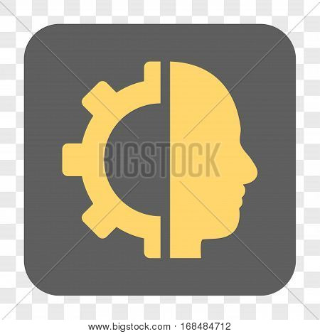 Cyborg Gear interface toolbar button. Vector icon style is a flat symbol in a rounded square button yellow and gray colors chess transparent background.