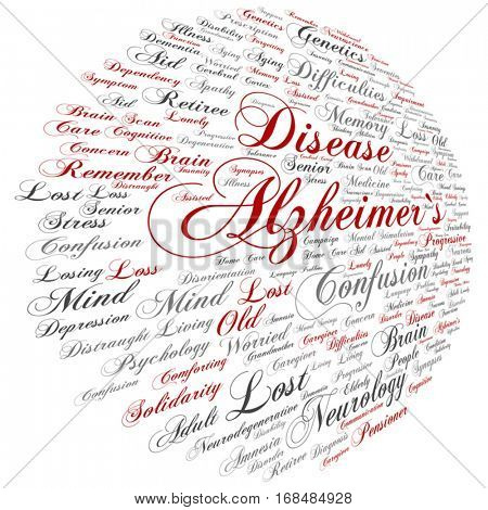 Vector concept conceptual Alzheimer`s disease symptoms abstract word cloud isolated on background metaphor to care, loss, caregiving, aging, resistance, neurology, old, language, motor or resistance