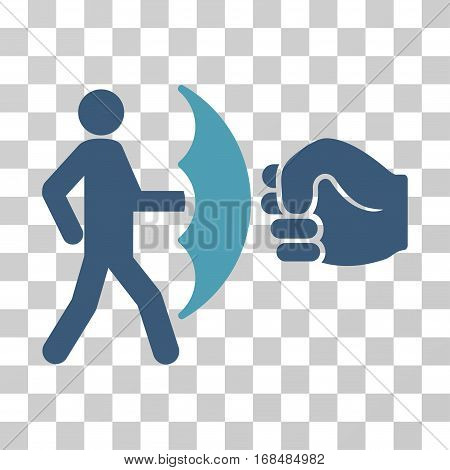 Crime Protection icon. Vector illustration style is flat iconic bicolor symbol, cyan and blue colors, transparent background. Designed for web and software interfaces.