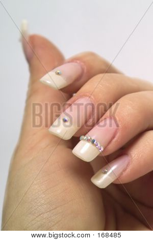 French Manicure And Diamonds