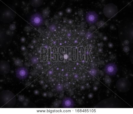 Abstract fractal of a Pentagon on a dark background