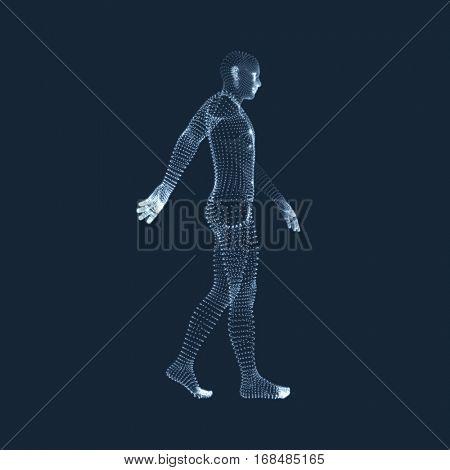 Walking Man. 3D Human Body Model. Geometric Design. Vector Illustration.