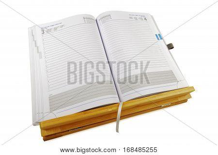 open notebook on wooden rack, isolated, studio shot