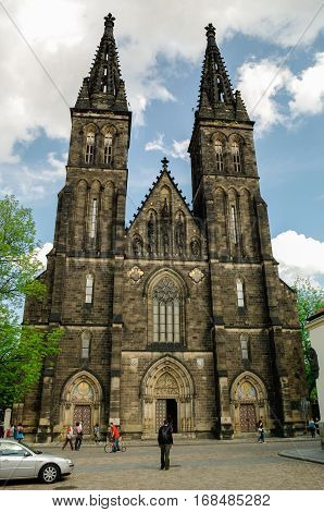 Prague, Czech Republic - May 8, 2012: Old basilica of Saint Peter and Saint Paul Vysehrad Prague Czech republic