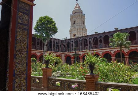 Lima, Peru - December 31, 2014: Courtyard in the Convento Santo Domingo in Lima Peru.
