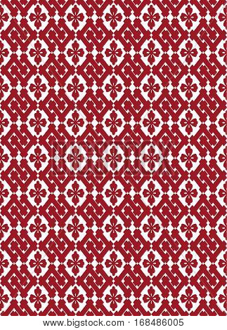 Seamless pattern in Japanese style with red stylized floral shapes and lattices
