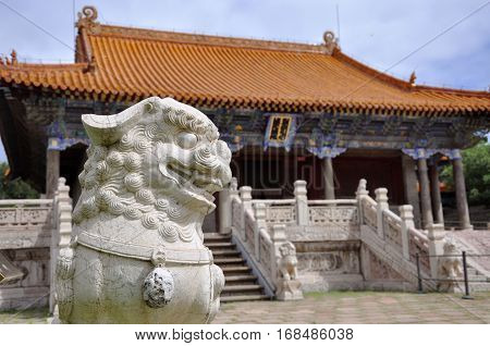 Stone Lion Statue in front of Long'en Hall of Fuling Tomb of Qing Dynasty, Shenyang, China. Fuling Tomb is a UNESCO World Heritage Site since 2004. Fuling Tomb (East Tomb) is the mausoleum of Nurhaci.