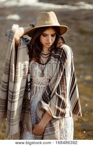 Beautiful Woman Hipster Portrait, Holding Hat And Poncho, Stylish Outfit, Boho Travel Concept, Sensu