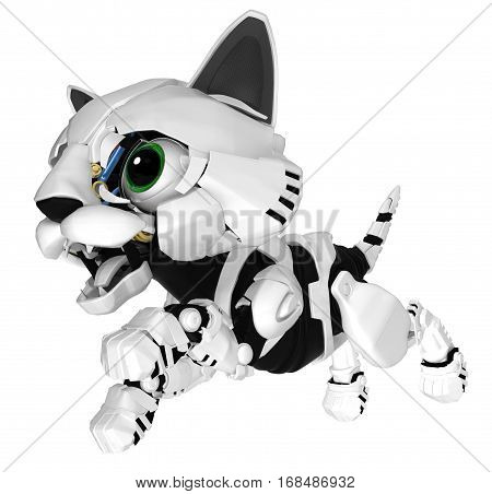 Robotic kitten leaping, 3d illustration, horizontal, isolated