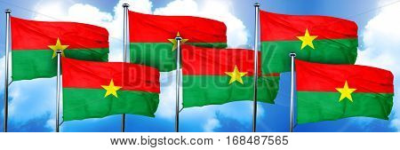 Burkina Faso flags, 3D rendering, on a cloud background