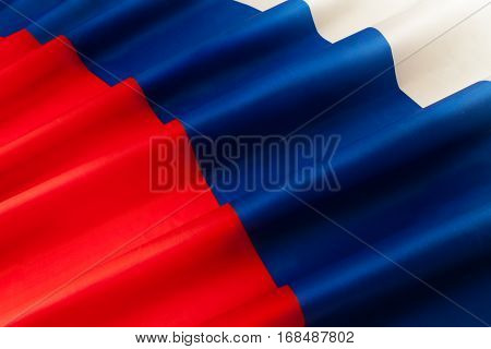 Close-up picture of silky Russian Federation pleated bunting