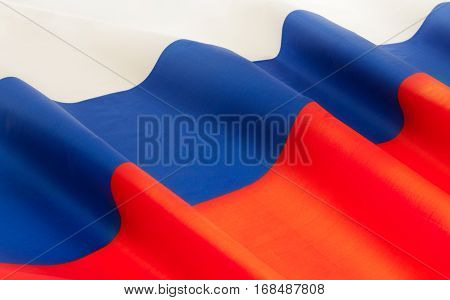 Full framed Russian Federation silky flag floating in the wind