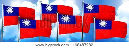 Republic of china flags, 3D rendering, on a cloud background