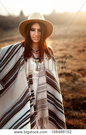 Beautiful Woman Hipster Posing, Wearing Hat And Poncho,  At Sunset In Mountains, True Emotions,  Sen