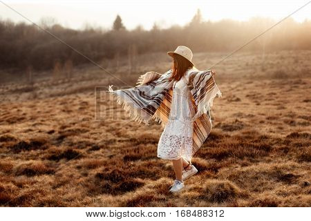 Beautiful Boho Woman Hipster Having Fun And Dancing At Sunset In Mountains, True Emotions, Space For
