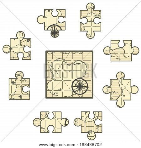 Map cartoon, jigsaw puzzle pieces, vector illustration, square