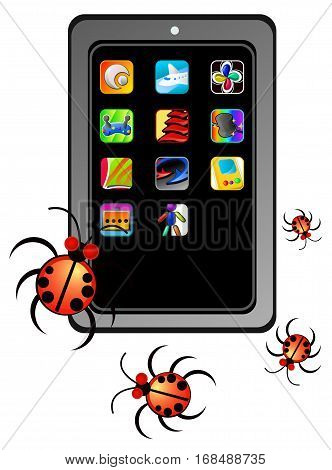 Cartoon smartphone bugs, vector illustration, vertical, isolated, over white