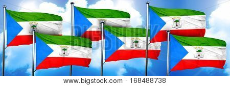 Equatorial guinea flags, 3D rendering, on a cloud background