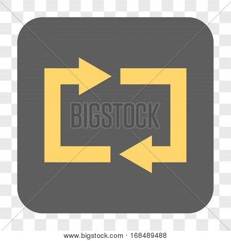 Exchange Arrows interface toolbar button. Vector icon style is a flat symbol inside a rounded square button yellow and gray colors chess transparent background.