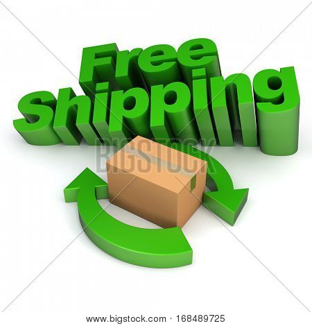 3D rendering Free shipping sign with arrows and a cardboard box, rendering
