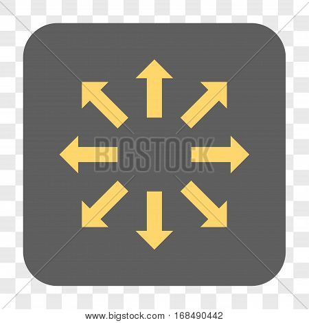 Explode Arrows interface toolbar button. Vector icon style is a flat symbol in a rounded square button yellow and gray colors chess transparent background.