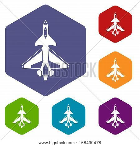 Military fighter jet icons set rhombus in different colors isolated on white background