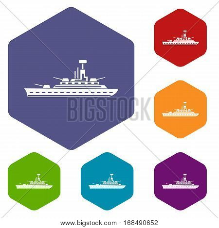 Military warship icons set rhombus in different colors isolated on white background